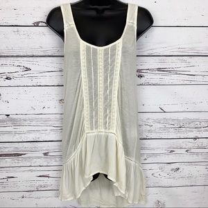 BLACK SWAN antique cream /ivory lace tank top